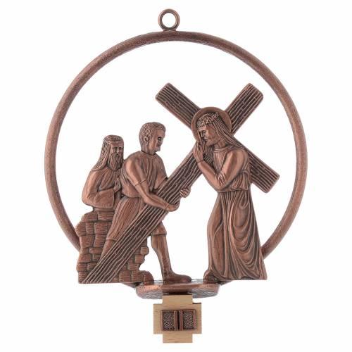 Vía Crucis 15 estaciones redonda en bronce cobrizo s2