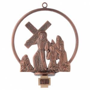 Vía Crucis 15 estaciones redonda en bronce cobrizo s8
