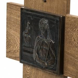 Vía Crucis 15 estaciones sobre cruz pasta de madera s4