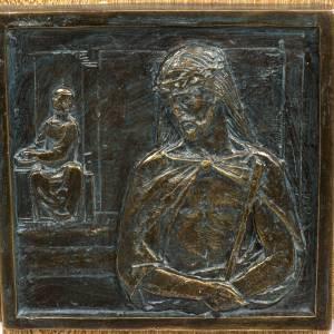 Vía Crucis: Vía Crucis 15 estaciones sobre cruz pasta de madera