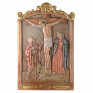 Via Crucis 15 Stazioni in rilievo legno colorato s12