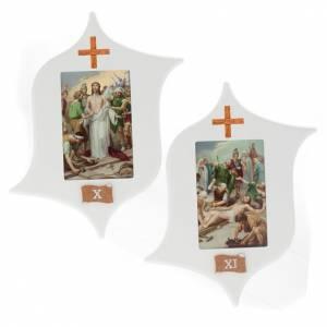 Via Crucis 15 stazioni: tavole legno a stella laccate s8