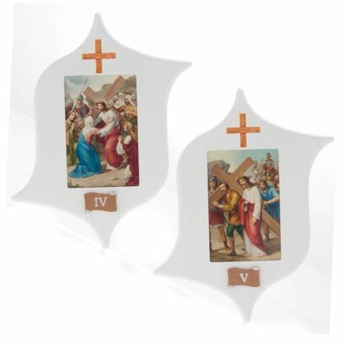 Via Crucis 15 stazioni: tavole legno a stella laccate s5