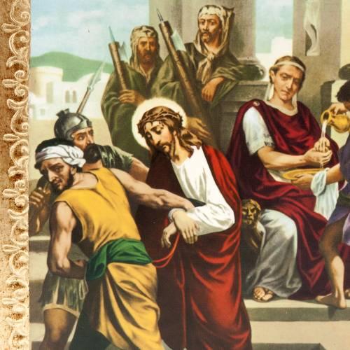 Via Crucis 15 stazioni: tavole dorate in legno s2