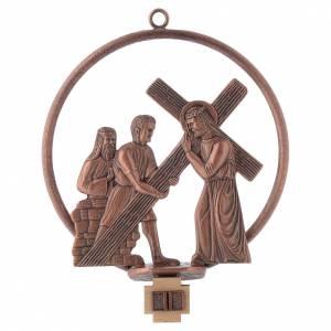 Via Crucis 15 stazioni tonda bronzo ramato s2