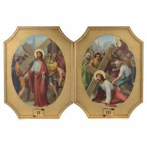 Via Crucis 15 tavole su legno sagomato foglia oro 52,5x35 s2