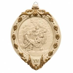 Vía Crucis: Vía Crucis beis 15 estaciones pasta de madera y resina