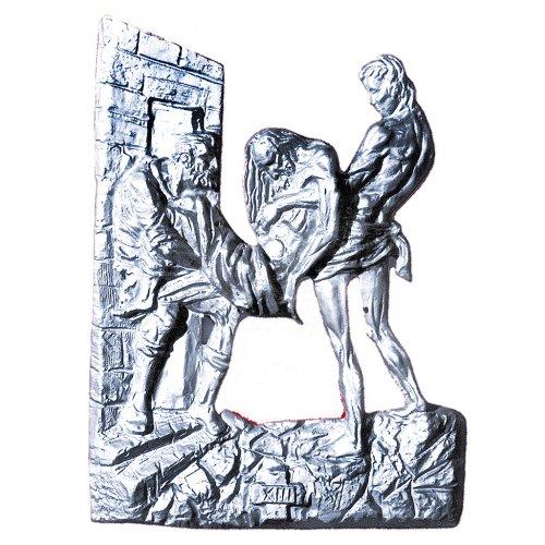 Via Crucis ottone argentato 14 stazioni 60x50 cm s1
