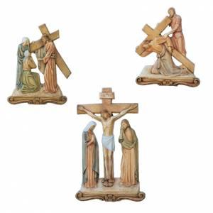 Vía Crucis: Vía Crucis 15 estaciones en relieve madera pintada 65x43 cm