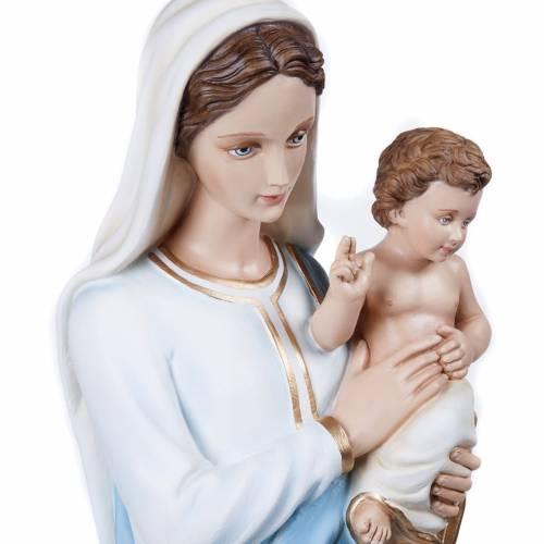 Vierge à l'enfant marbre reconstitué 100cm peinte s4