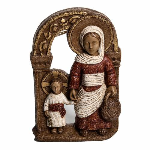 Vierge de Nazareth veste rouge 35 cm pierre Bethléem s1