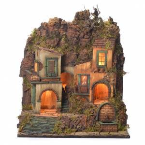 Village crèche napolitaine style 1700 petite fontaine 50x50x40 cm s1