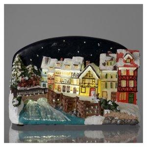 Villages de Noël miniatures: Village de Noël maisons avec pont résine 30x25x30 cm