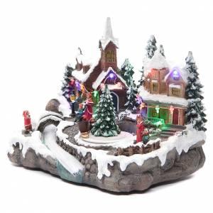 Villages de Noël miniatures: Village Noël éclairage et mouvement 30x15x20 cm