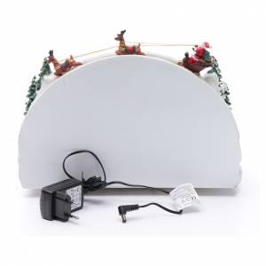 Villaggio natalizio bianco luminoso musica movim pattinatori albero natale 24X33X21 cm s5