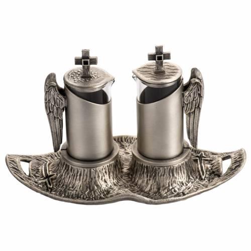 Vinajera de misa en bronce fundido plateado s1