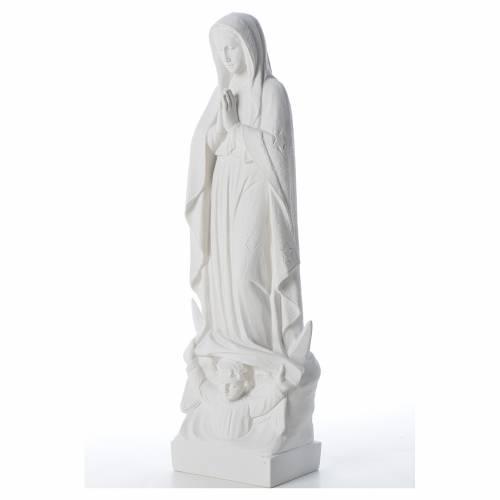 Virgen con luna y niño en mármol blanco s2