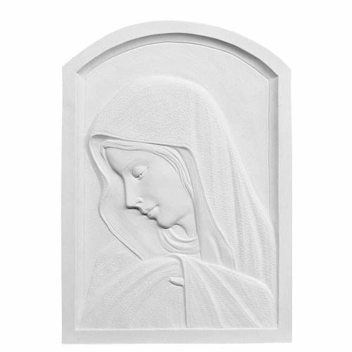 Virgen de perfil 45cm en relieve en mármol blanco s1