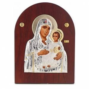 Sacred gilded icons: Virgin Mary of Jerusalem icon, silkscreen printing