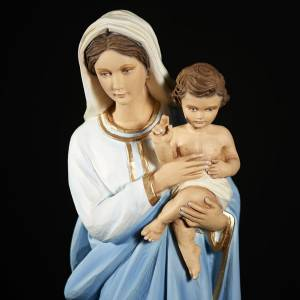 Virgin Mary with Baby Jesus statue, 60 cm in painted marble dust s8