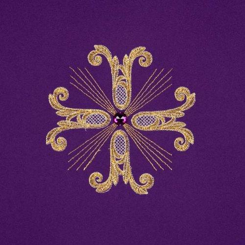 Voile de lutrin 3 croix dorées perles verre s5