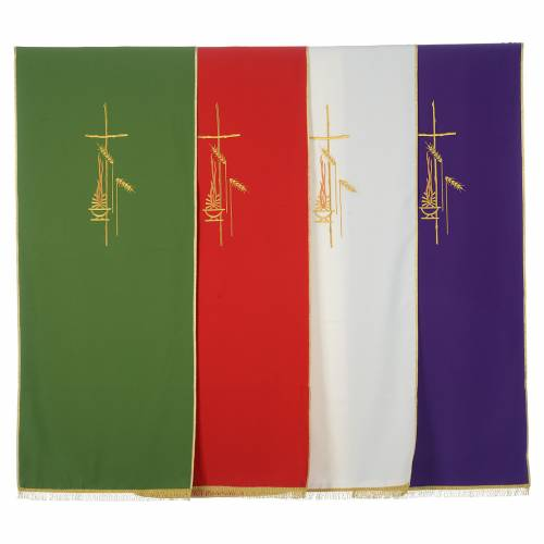 Voile de lutrin croix, flamme et épis 100% polyester s1