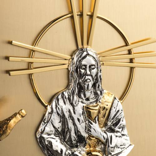 Wall Tabernacle with Jesus image in gold-plated cast brass s3
