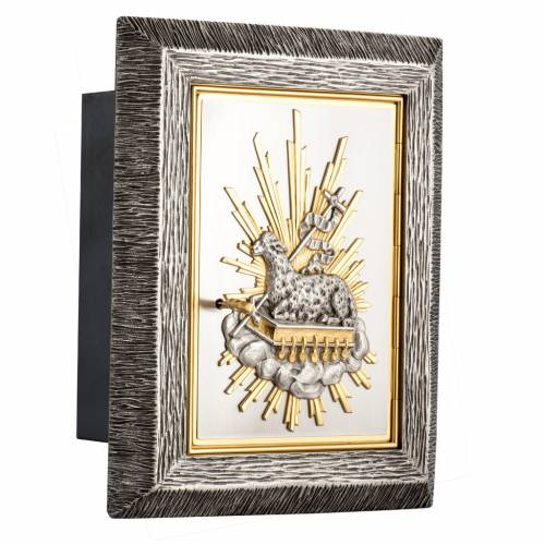 Wall Tabernacle with Lamb of God in bronze and brass s6