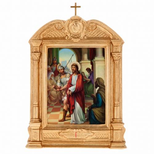 Way of the Cross in wood decorated with columns, 15 stations s1
