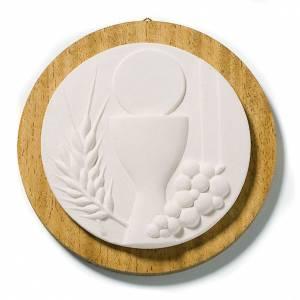 Ikonen, Bildchen, Figuren: Weißes Rundbild Kommunion mit Holz