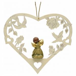 Christbaumschmuck aus Holz und PVC: Weihnachtsschmuck Herz Engel mit Flöte aus Holz