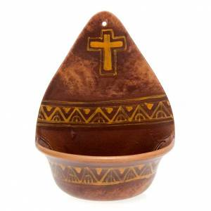 Weihwasserbecken dekorierte Kreuz Keramik s3