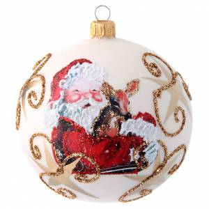 Christmas balls: White Christmas tree ball with Father Christmas and deer 100 mm