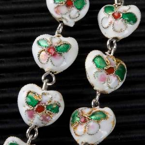 White cloisonné rosary with heart shaped beads s5