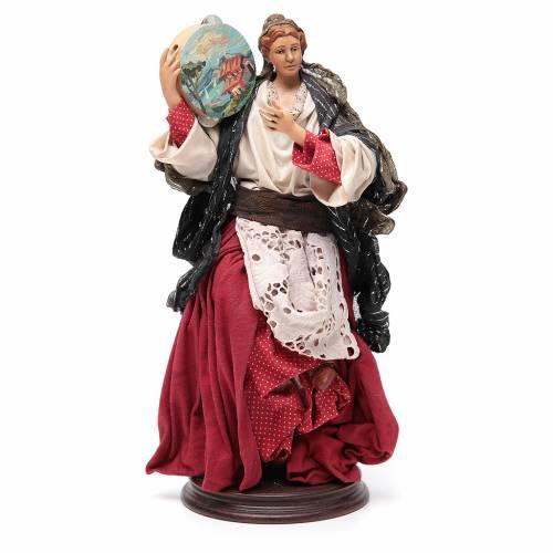 Woman with tamburine for Neapolitan Nativity 30cm s1