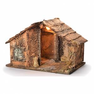 Wooden cabin with mirror, Neapolitan Nativity 45x56x45cm s3