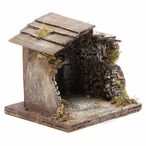 Wooden stable for Neapolitan nativity 13x12x11cm s3