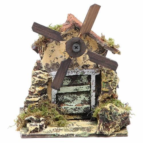 Wooden windmill for Neapolitan Nativity measuring 13x10.5x10cm s1