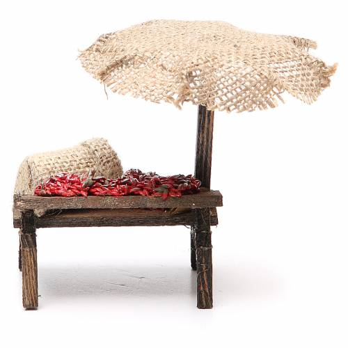 Workshop nativity with beach umbrella, chili peppers 12x10x12cm s4