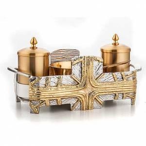 Oleje święte i akcesoria do chrztu: Zestaw naczyń do chrztu Krzyż złoty i srebrny