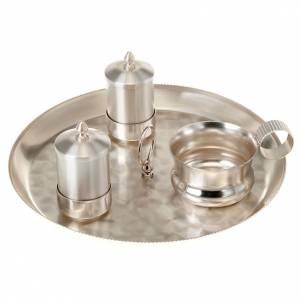 Oleje święte i akcesoria do chrztu: Zestaw naczyń do chrztu srebrny satynowany