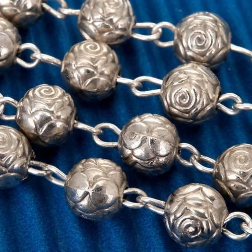 Rosario roselline metallo argentato s3