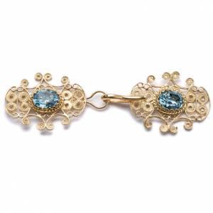 Chapes, Chasubles Romaines, Dalmatiques: Accroches de chape filigrane argent 800 pierrse bleu cierl