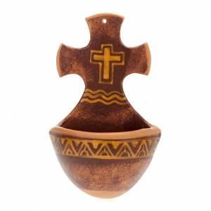 Acquasantiere: Acquasantiera croce ceramica
