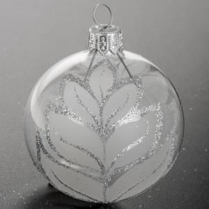 Addobbo albero Natale sfera vetro albero argento 6 cm s4