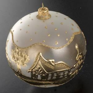 Addobbo albero Natale vetro bianco oro paese neve 12 cm s2