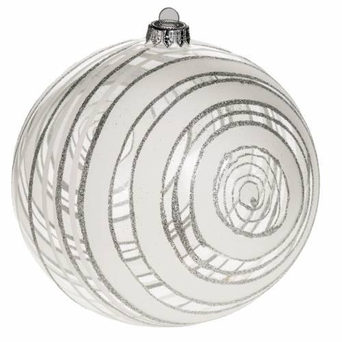 Addobbo albero Natale vetro decori argento 15 cm s1