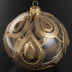 Addobbo albero Natale vetro soffiato trasparente oro 10 cm s3