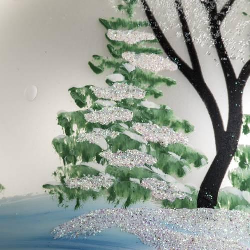 Adorno árbol de Navidad vidrio soplado blanco pueblo 12 c s4