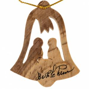 Adorno árbol madera olivo Bethlehem cabaña nacimiento s1